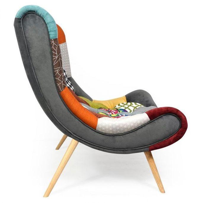 Fauteuil patchwork tissu multicolore et pieds bois clair Ulric - Photo n°2
