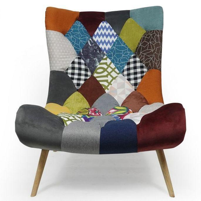 Fauteuil patchwork tissu multicolore et pieds bois clair Ulric - Photo n°3