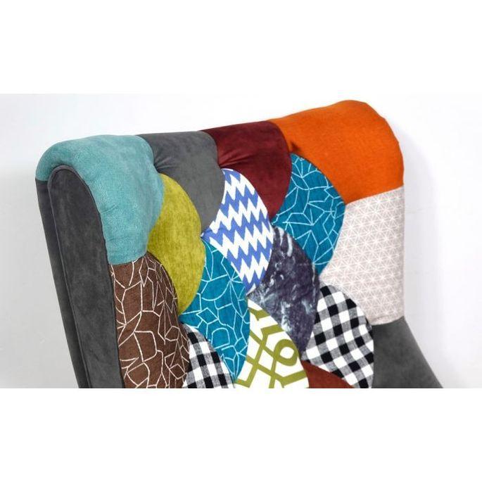 Fauteuil patchwork tissu multicolore et pieds bois clair Ulric - Photo n°4