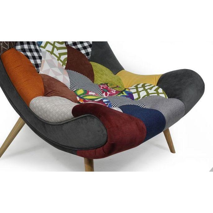 Fauteuil patchwork tissu multicolore et pieds bois clair Ulric - Photo n°5