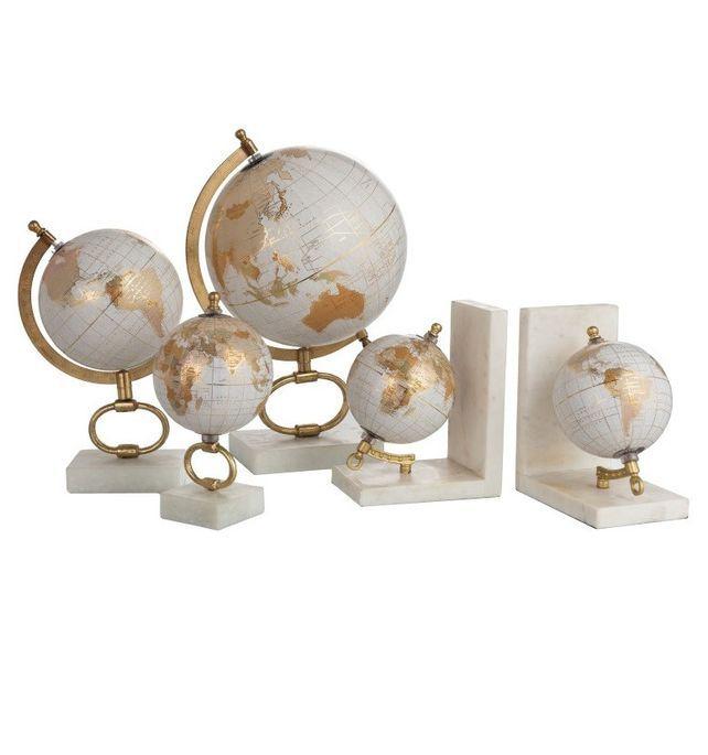 Globe marbre blanc et pied métal doré Narsh D 15 cm - Photo n°2