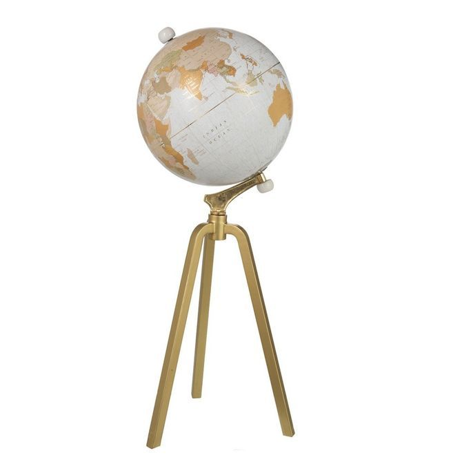 Globe marbre blanc sur pied métal doré Narsh D 38 cm - Photo n°1