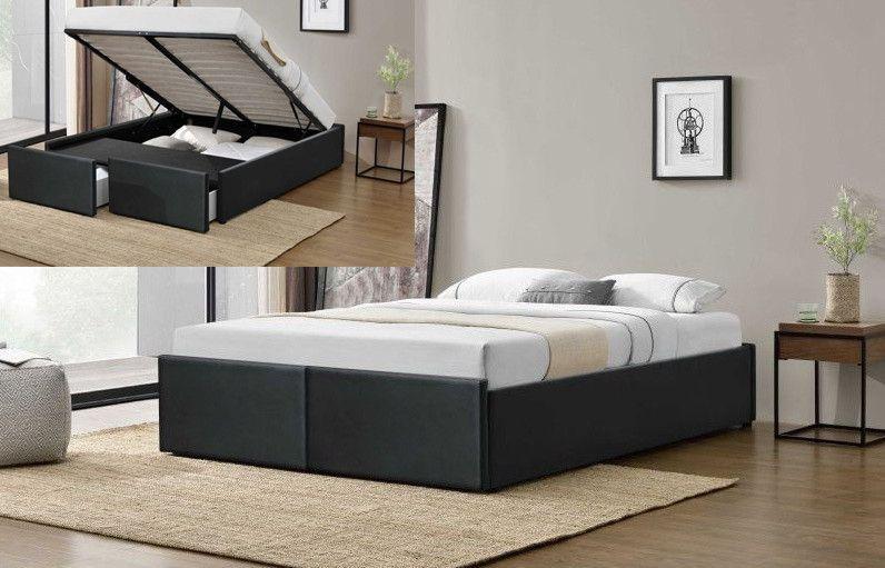 Cadre de lit avec coffre et 2 tiroirs 140x190 cm simili cuir noir mat Karmi - Photo n°3