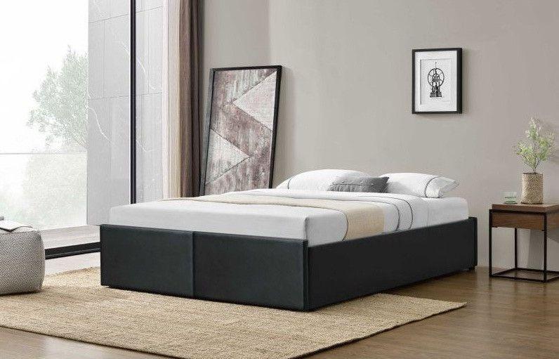 Cadre de lit avec coffre et 2 tiroirs 140x190 cm simili cuir noir mat Karmi - Photo n°4
