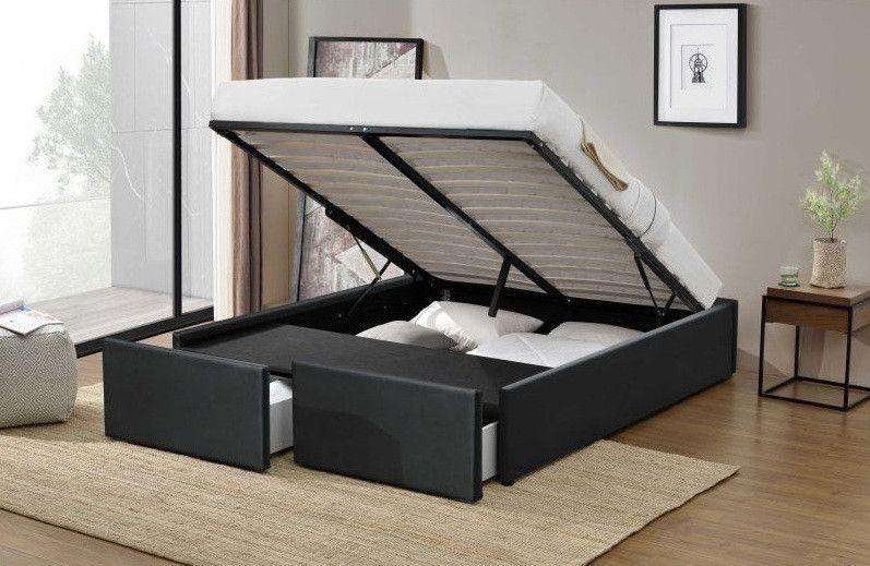 Cadre de lit avec coffre et 2 tiroirs 140x190 cm simili cuir noir mat Karmi - Photo n°2