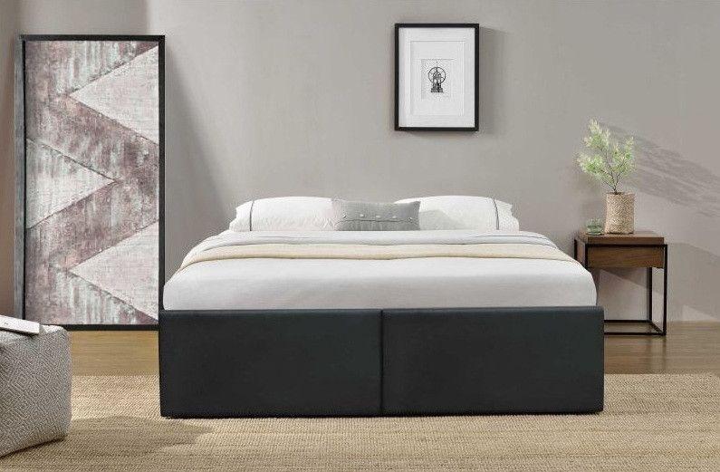 Cadre de lit avec coffre et 2 tiroirs 140x190 cm simili cuir noir mat Karmi - Photo n°5