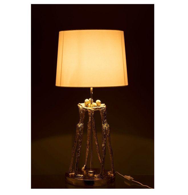 Lampe de table blanche et pied résine dorée Narsh - Photo n°3