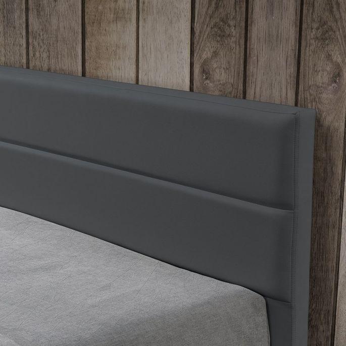 Lit à Led avec coffre de rangement similicuir gris Dina 140x190 cm - Photo n°6