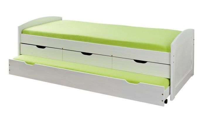 Lit banquette 4 tiroirs pin massif blanc Zara 90x200 cm - Photo n°1