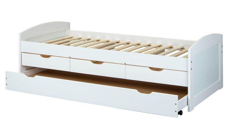 Lit banquette 4 tiroirs pin massif blanc Zara 90x200 cm - Photo n°3