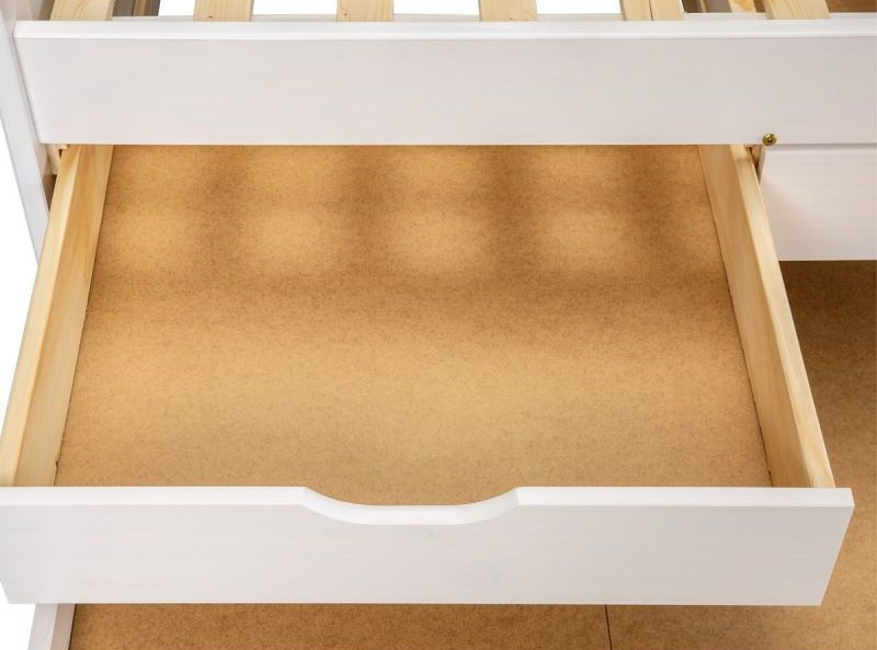 Lit banquette 4 tiroirs pin massif blanc Zara 90x200 cm - Photo n°6