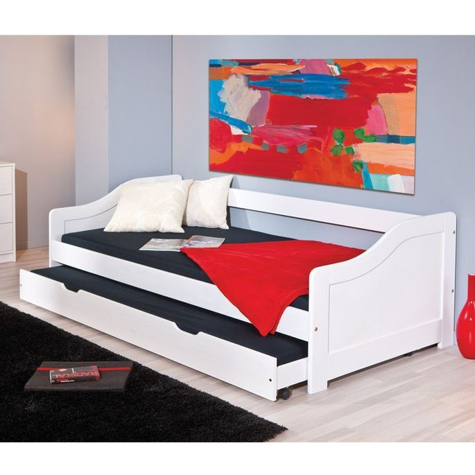 Lit banquette avec tiroir lit pin massif blanc Theo 90x190 cm - Photo n°6