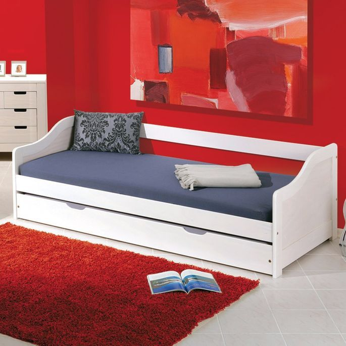 Lit banquette avec tiroir lit pin massif blanc Theo 90x190 cm - Photo n°7