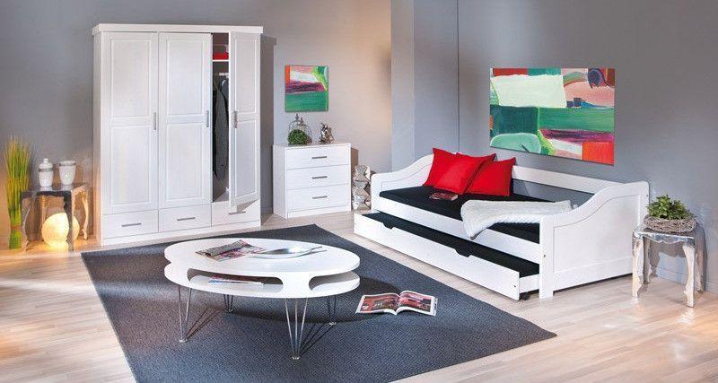 Lit banquette avec tiroir lit pin massif blanc Theo 90x190 cm - Photo n°8