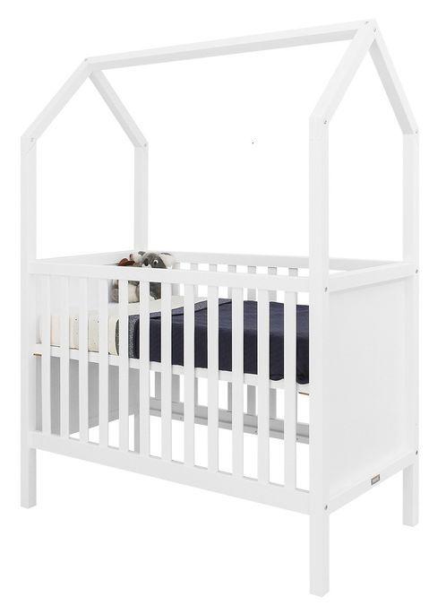 Lit bébé transformable hêtre blanc My First House 60x120 cm - Photo n°1