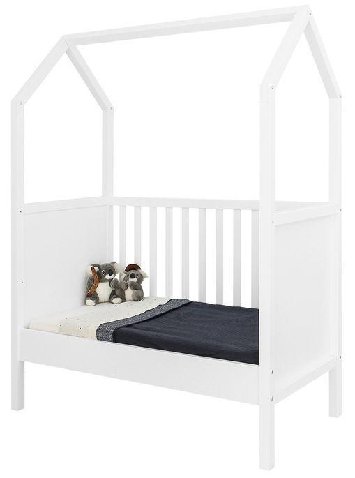 Lit bébé transformable hêtre blanc My First House 60x120 cm - Photo n°2