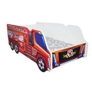 Lit camion pompier mélaminé rouge 70x140 cm - Photo n°1