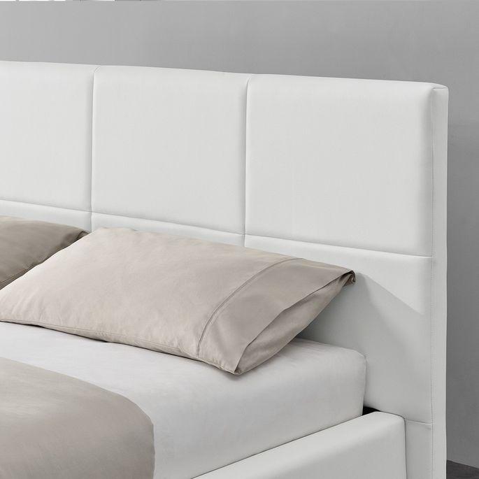 Lit capitonné similicuir blanc avec coffre de rangement et led Belo 160x200 cm - Photo n°4