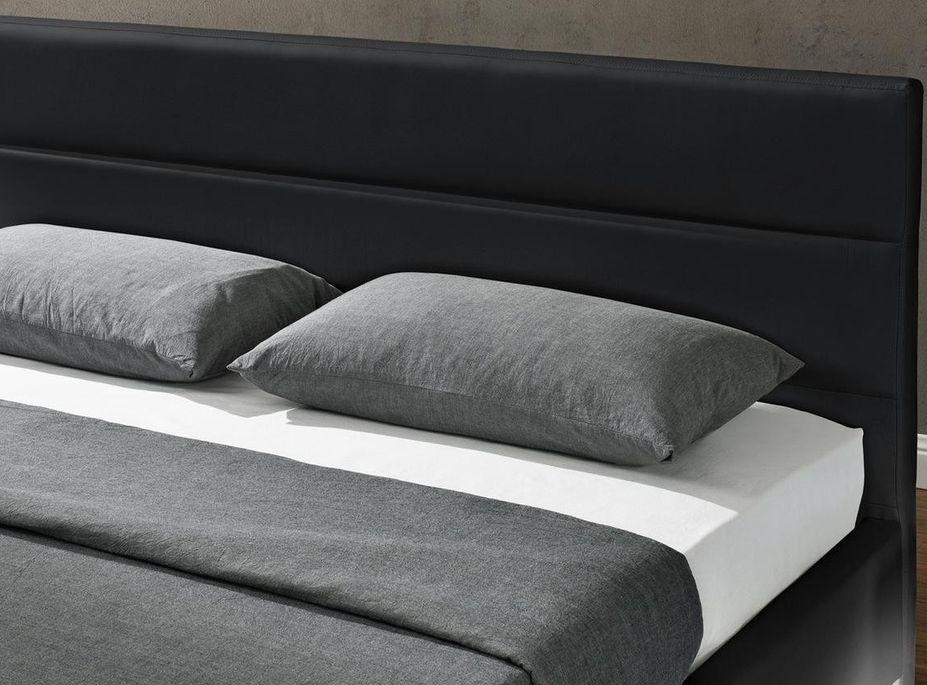 Lit coffre à Led blanc 160x200 cm simili cuir noir Star - Photo n°6
