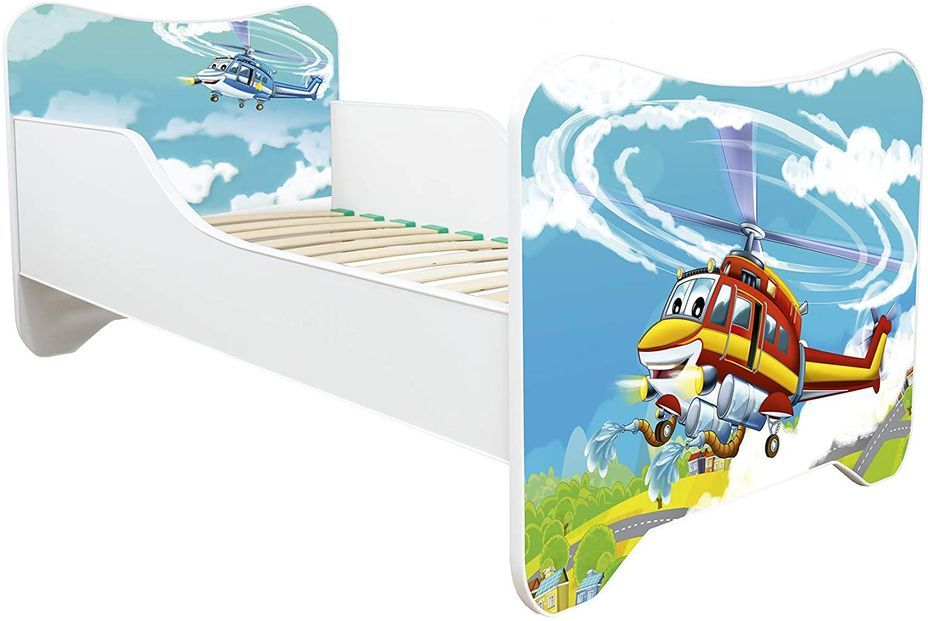 Lit enfant avec matelas Hélicoptère 70x140 cm - Photo n°1