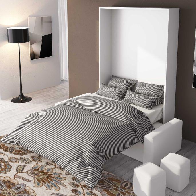 Lit escamotable 150x190 cm avec canapé coffre tissu Espacia - Photo n°2