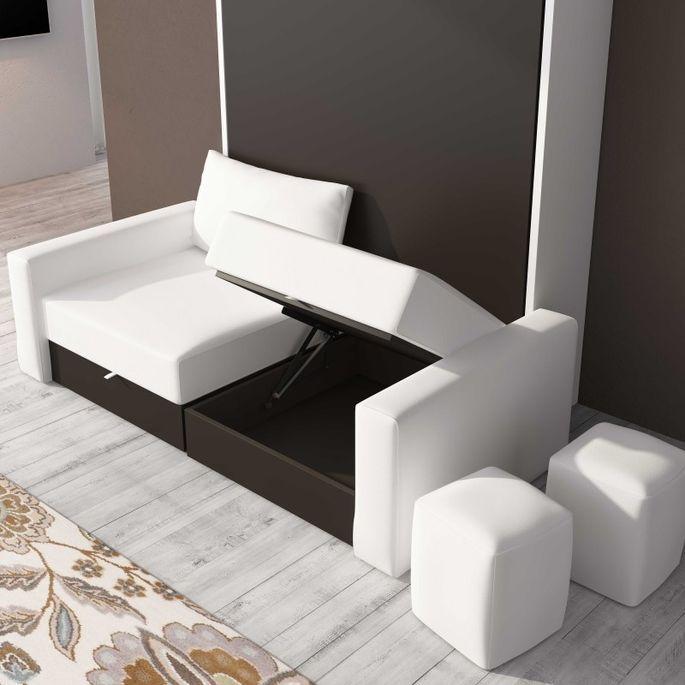 Lit escamotable 150x190 cm avec canapé coffre tissu Espacia - Photo n°3
