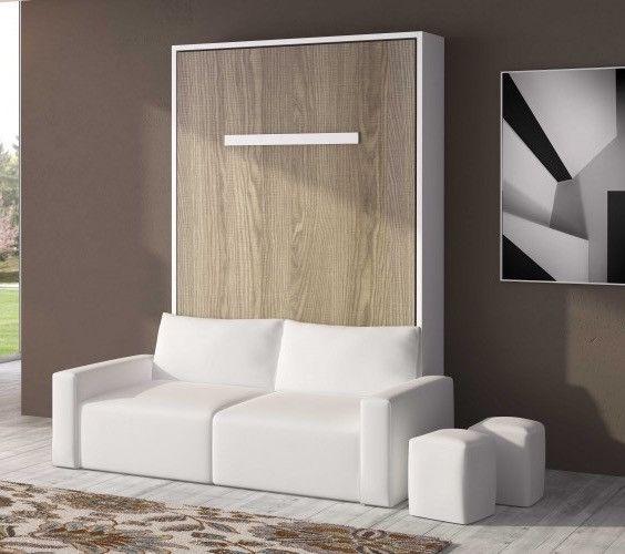 Lit escamotable 150x190 cm avec canapé coffre tissu Espacia - Photo n°4