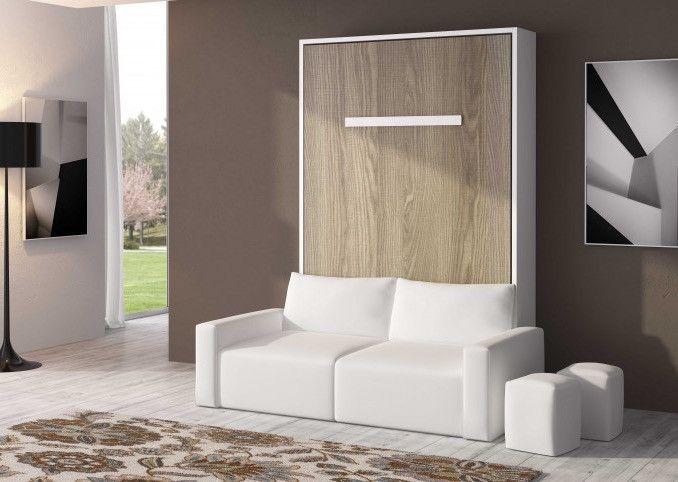 Lit escamotable 150x190 cm avec canapé coffre tissu Espacia - Photo n°1