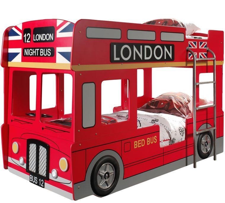 Lit superposé bus Londres 90x200 cm bois laqué rouge Cara - Photo n°1