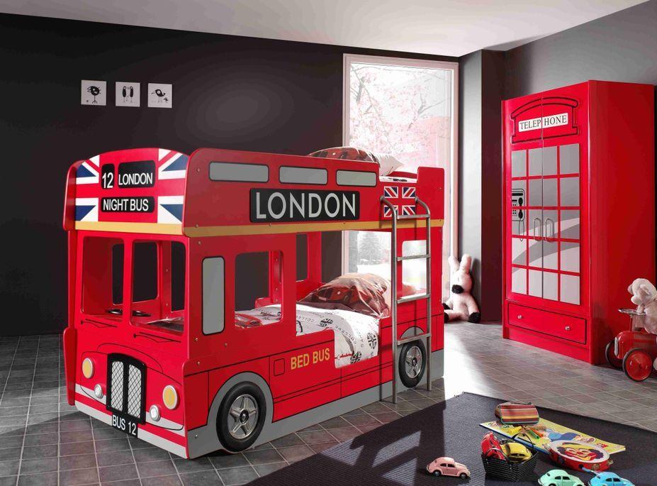 Lit superposé bus Londres 90x200 cm bois laqué rouge Cara - Photo n°2