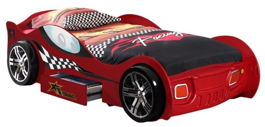 Lit voiture à tiroir rouge Turbo 90x200 cm - Photo n°1