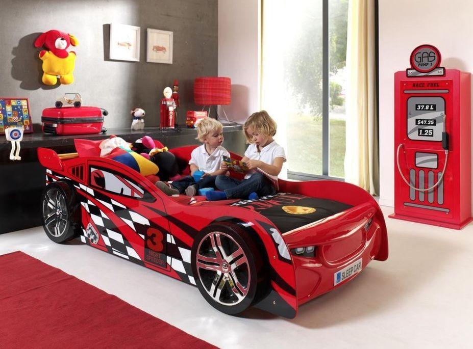 Lit voiture de course 90x200 cm bois rouge Spider - Photo n°2