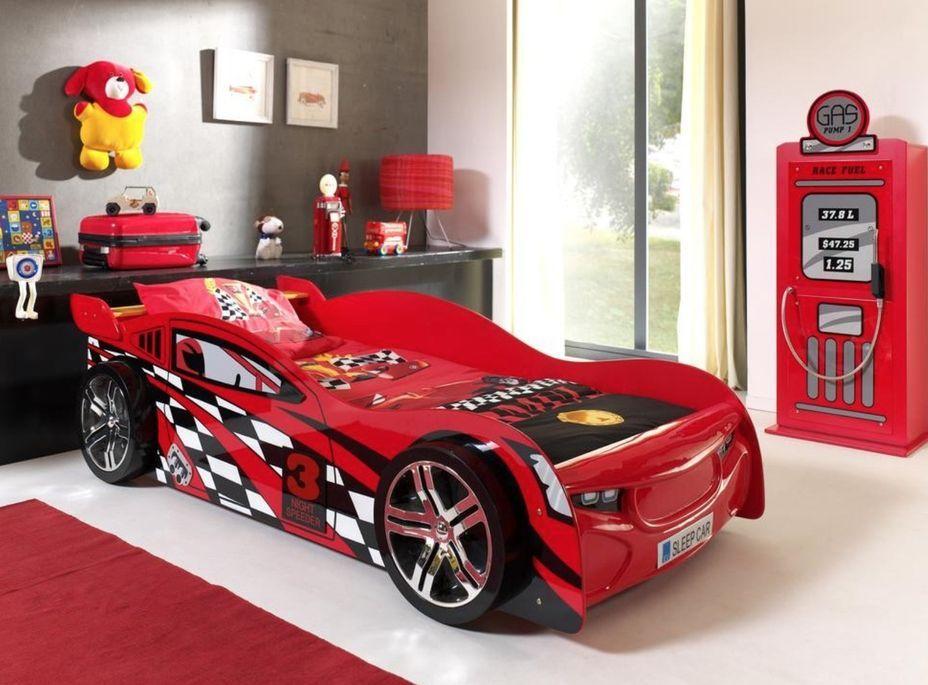 Lit voiture de course 90x200 cm bois rouge Spider - Photo n°3