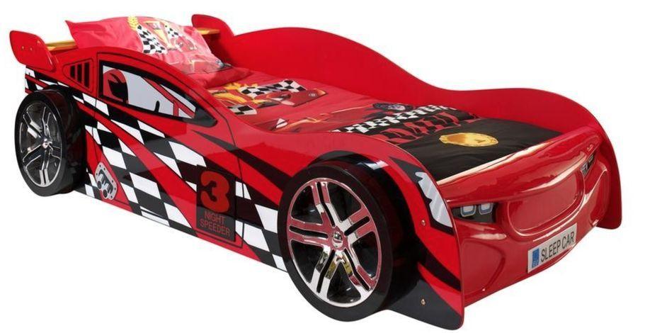 Lit voiture de course 90x200 cm bois rouge Spider - Photo n°1