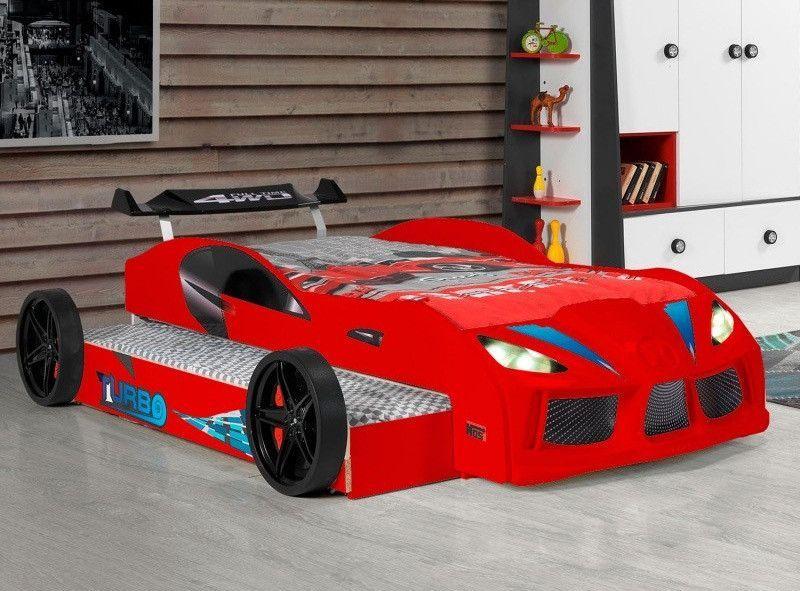 Lit voiture de course double couchage 90x190 cm Racing rouge - Photo n°1
