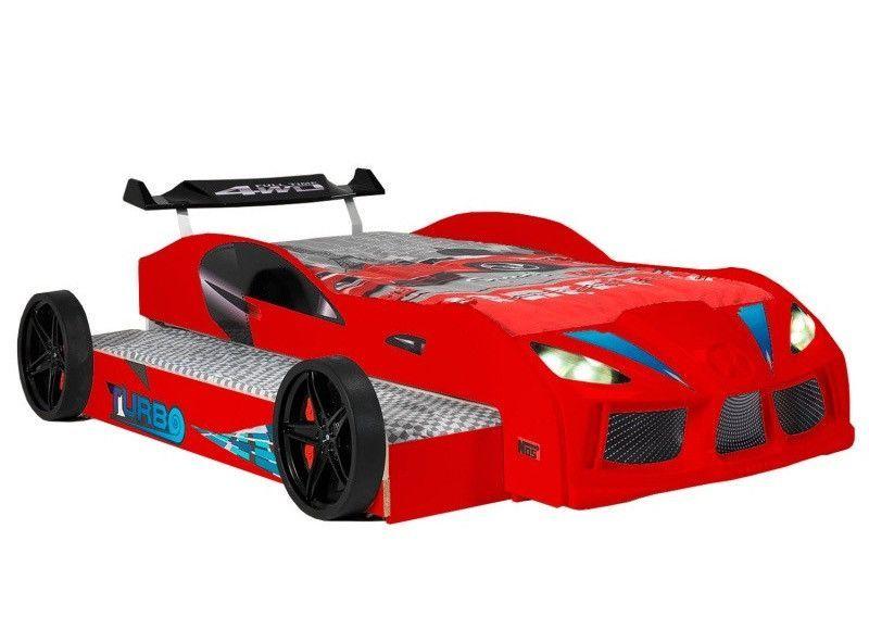 Lit voiture de course double couchage 90x190 cm Racing rouge - Photo n°2