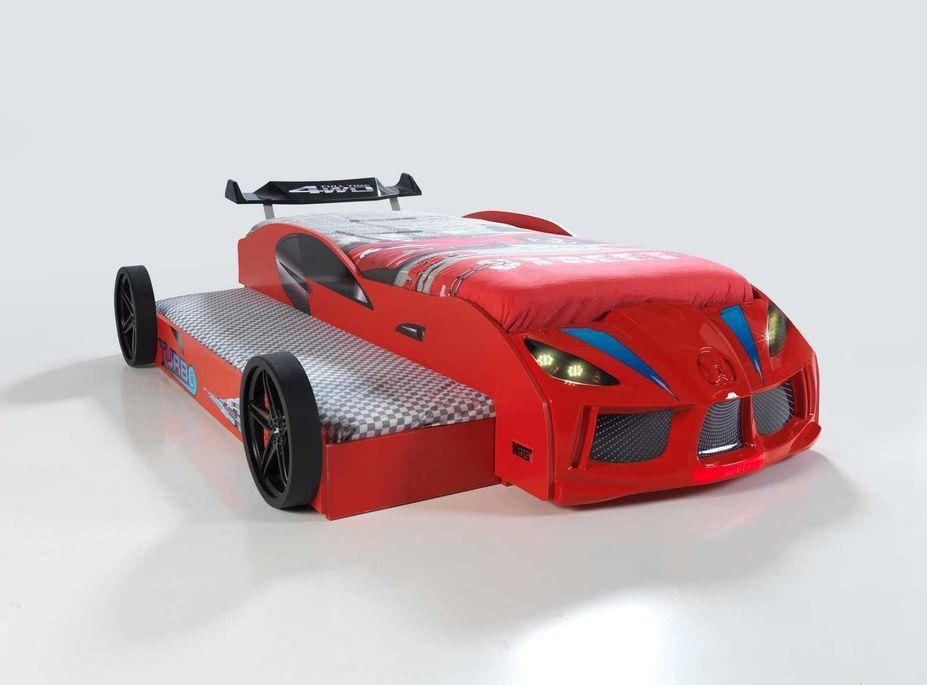 Lit voiture de course double couchage 90x190 cm Racing rouge - Photo n°3