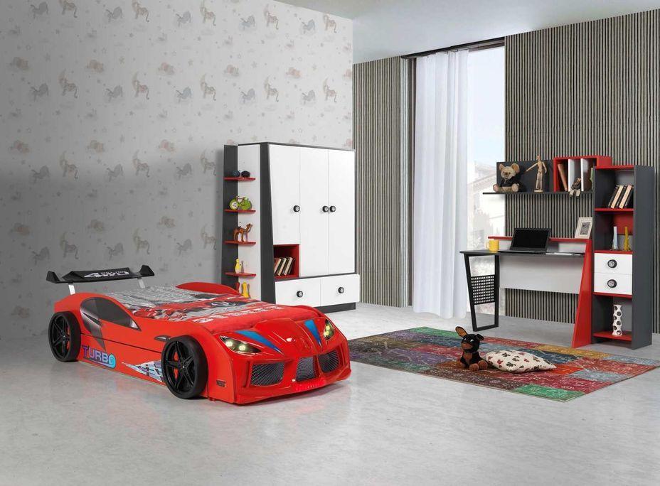 Lit voiture de course double couchage 90x190 cm Racing rouge - Photo n°4
