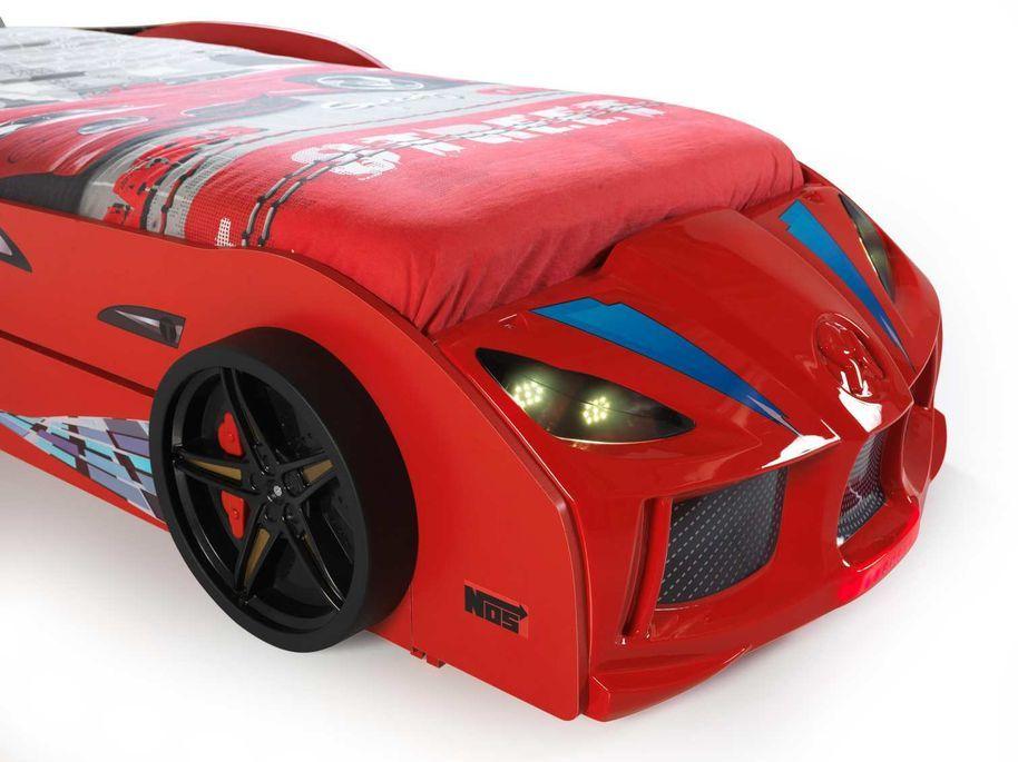 Lit voiture de course double couchage 90x190 cm Racing rouge - Photo n°6