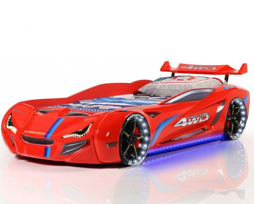 Lit voiture de course turbo V1 rouge 90x190 cm - Photo n°1