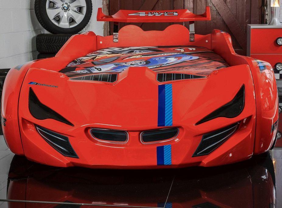 Lit voiture de course turbo V1 rouge 90x190 cm - Photo n°3