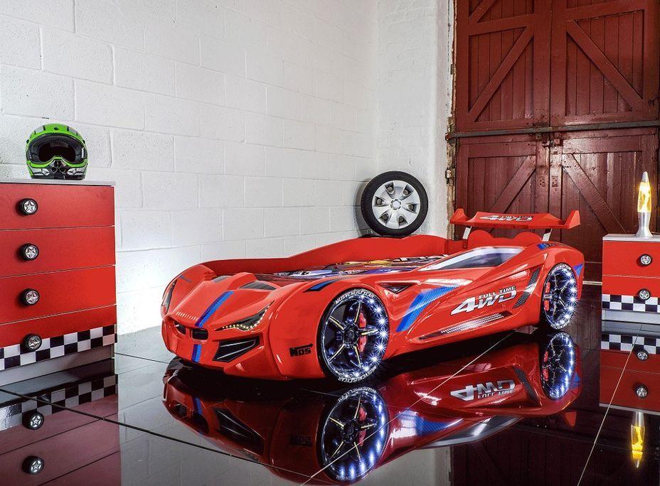 Lit voiture de course turbo V1 rouge 90x190 cm - Photo n°4