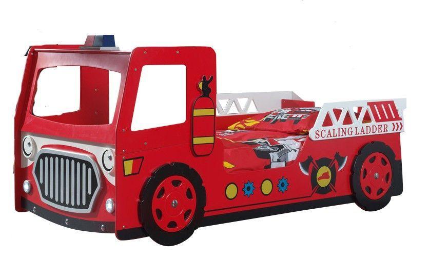 Lit voiture pompier 90x200 cm bois laqué rouge Cara - Photo n°3