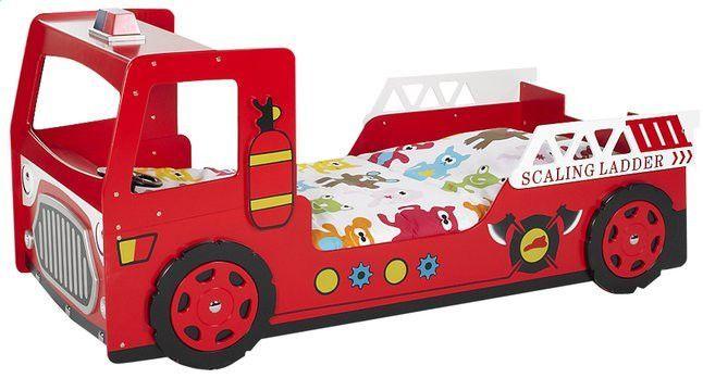 Lit voiture pompier 90x200 cm bois laqué rouge Cara - Photo n°1
