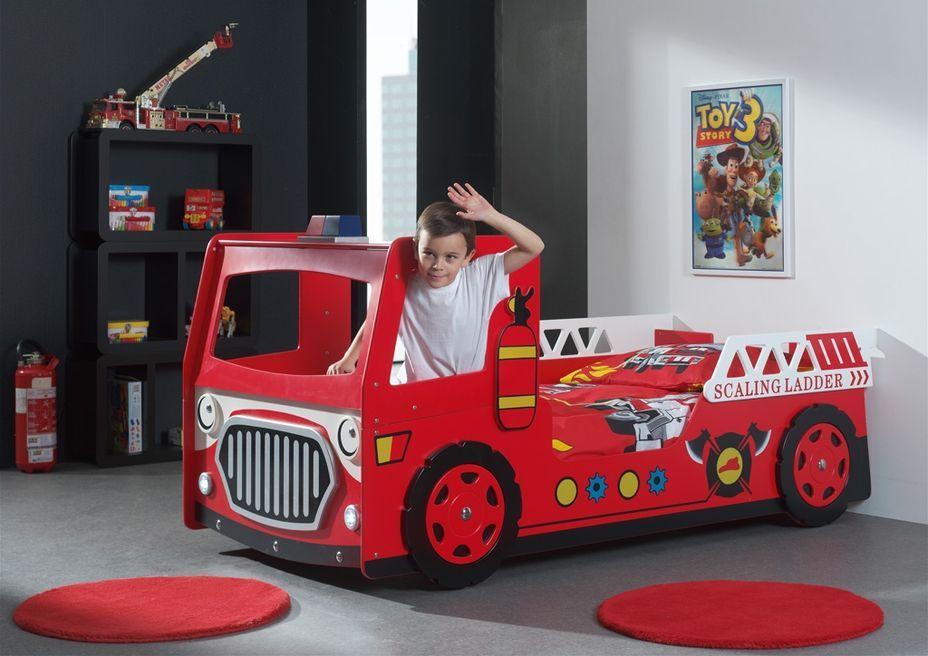 Lit voiture pompier 90x200 cm bois laqué rouge Cara - Photo n°4