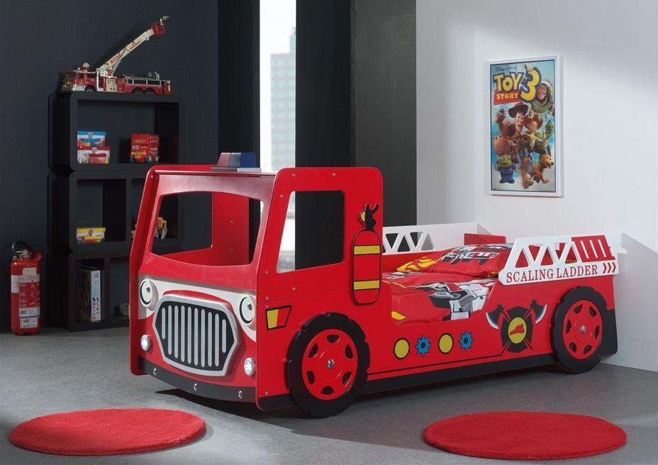 Lit voiture pompier 90x200 cm bois laqué rouge Cara - Photo n°2