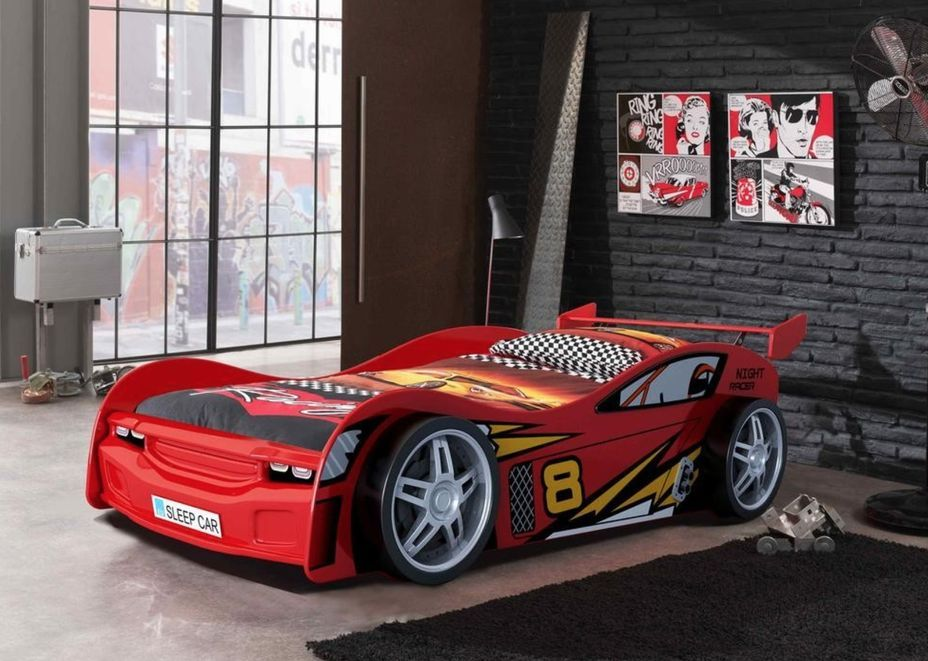 Lit voiture rouge Race 90x200 cm - Photo n°4
