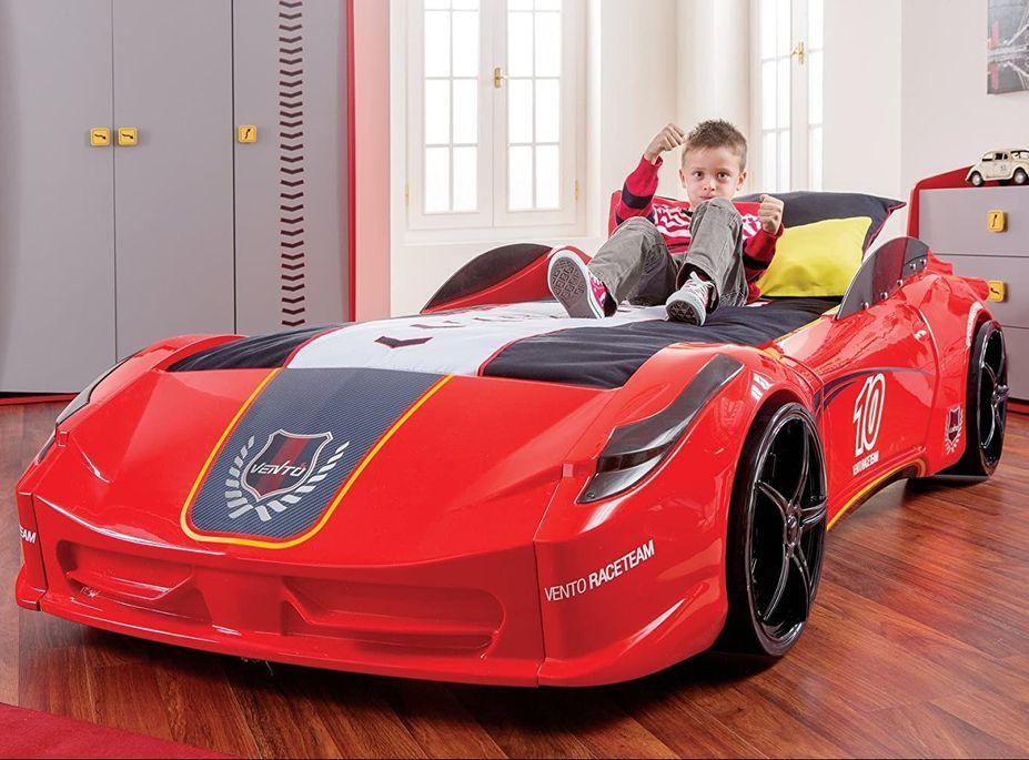 Lit voiture de sport rouge à Led avec effets sonores Racing 90x190 cm - Photo n°1