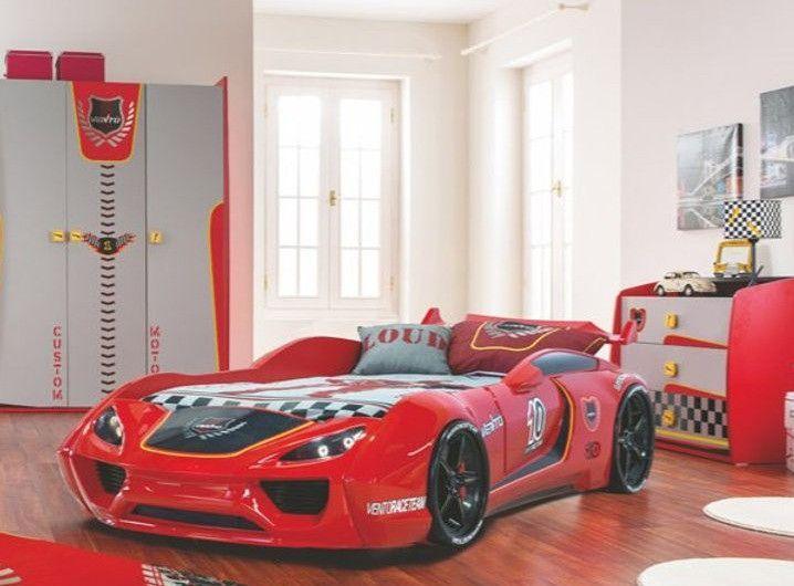 Lit voiture de sport rouge à Led avec effets sonores Racing 90x190 cm - Photo n°3