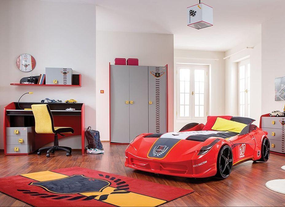 Lit voiture de sport rouge à Led avec effets sonores Racing 90x190 cm - Photo n°5
